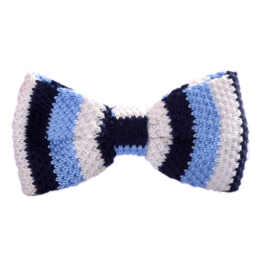 Blue Striped Knitted Bow Tie