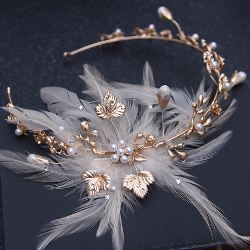 Feather Pearl Accent Headpiece