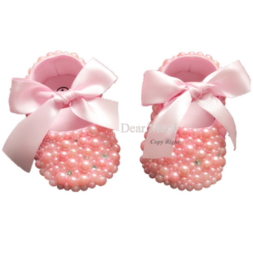 Pink Pearl Embellished Baby Shoes