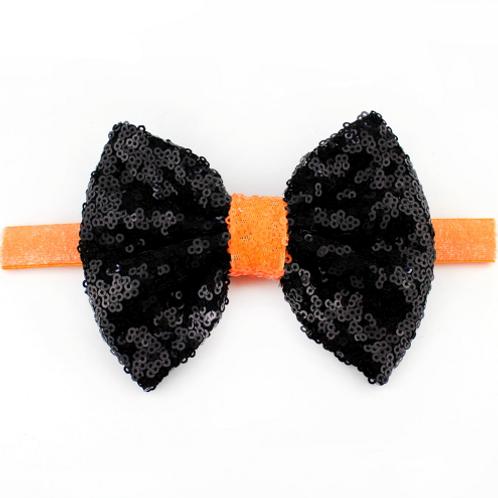 Black Sequin Bow Elastic Headband