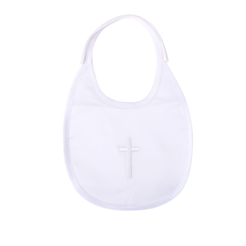 Baby Pure White Baptism Christening Holy Communion Unisex Bib With A Chain Cross Embroidery