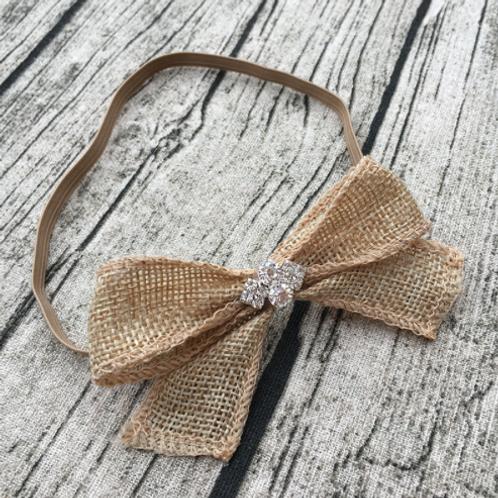 Burlap Rhinestone Embellished Elastic Headband