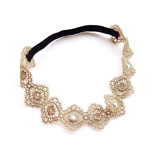 Gold Embroidered Elastic Headband