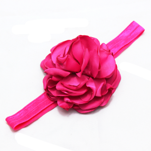 Girls Kids Pink Multilayered Rose Elastic Headband