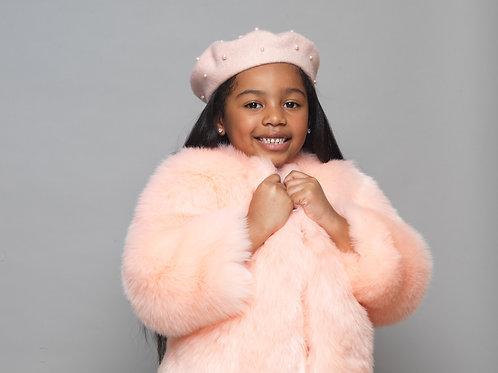 Pink Baby Girls Kids Salmon Fur Winter Spring Fall Birthday Baptism Holy Communion Christening Coat