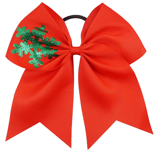 "7"" Red Snow Flake Ribbon Hair Tie"