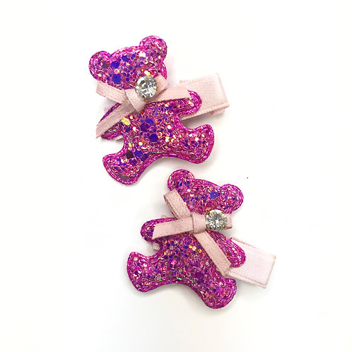 Glitter Teddy Bear Hair Clips - Set Of 2