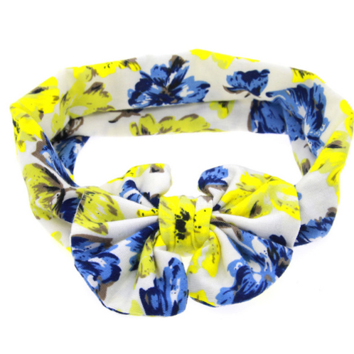 Neon Floral Print Cotton Bow Turban