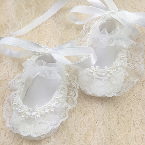 Lace Pearl Baby Shoes