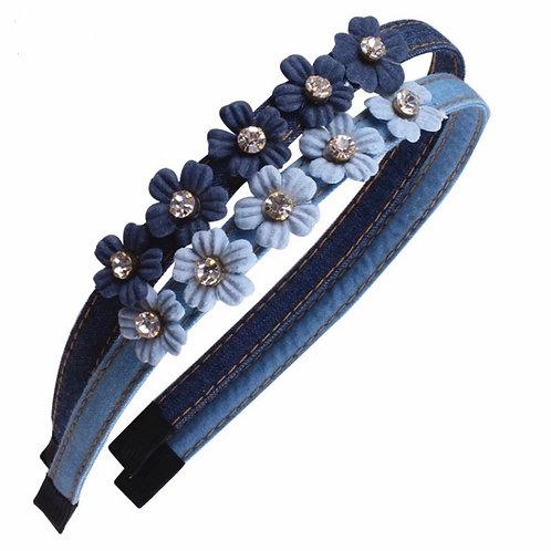 Denim Diamanté Floral Headband