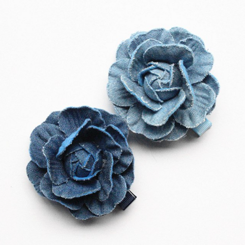 Denim Flower Hair Clip - Set of 2