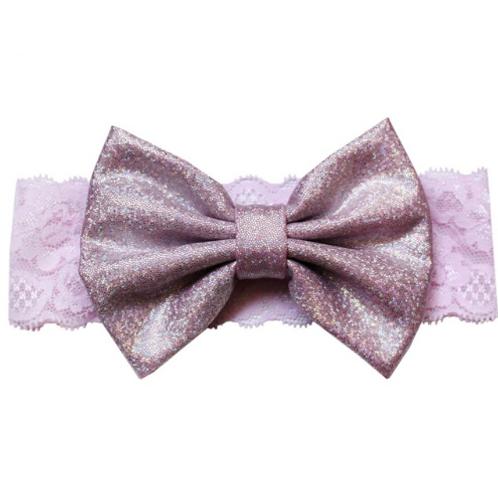 Glitter Metallic Lace Bow Turban