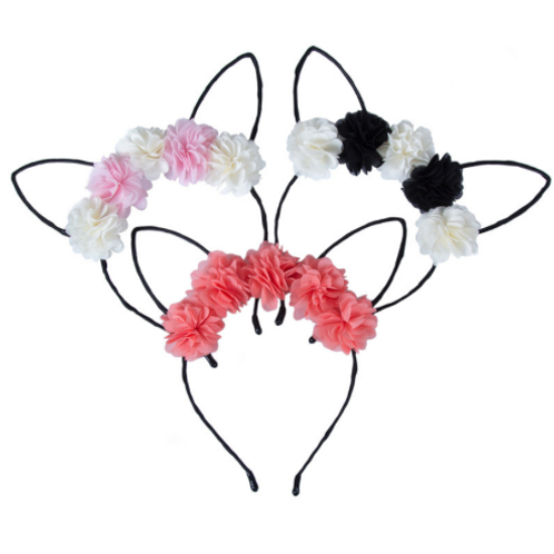 Floral Chiffon Cat Ear Headband