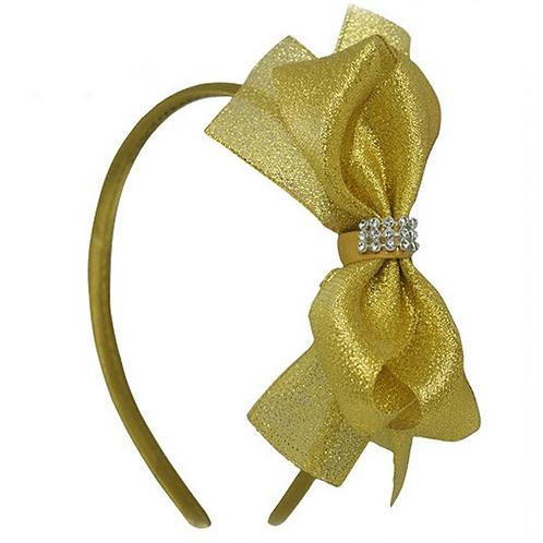 Gold Organza Bow Headband