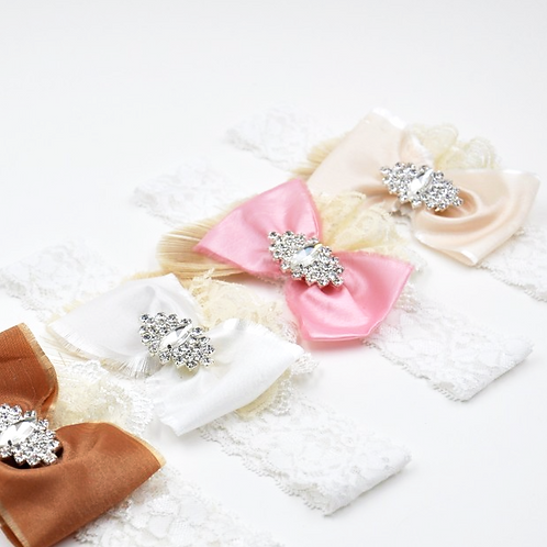 Bow Ribbon Embellished Lace Headband