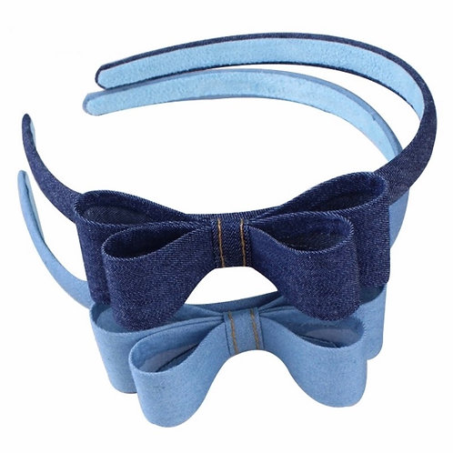 Denim Ribbon Bow Headband