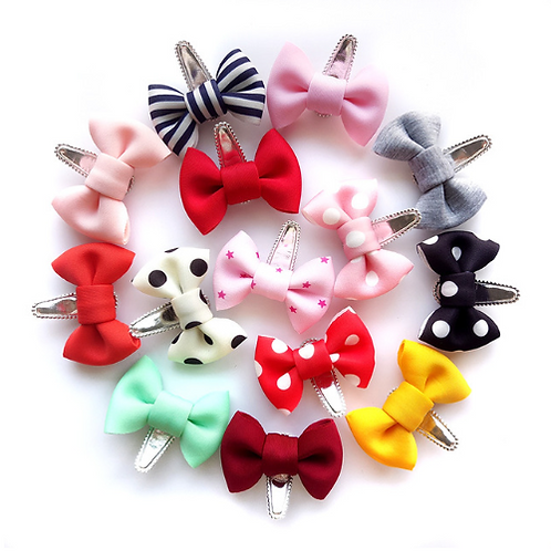 Cotton Bow Hair Clip - Set of 14