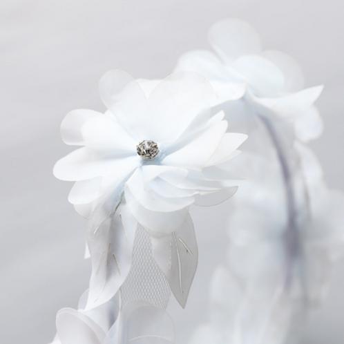 Embellished Chiffon Flower Ribbon Tie