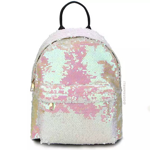 White Sequin Iridescent Backpack