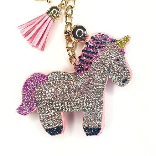 Rhinestone Unicorn Keychain