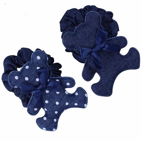 Denim Teddy Bear Hair Tie