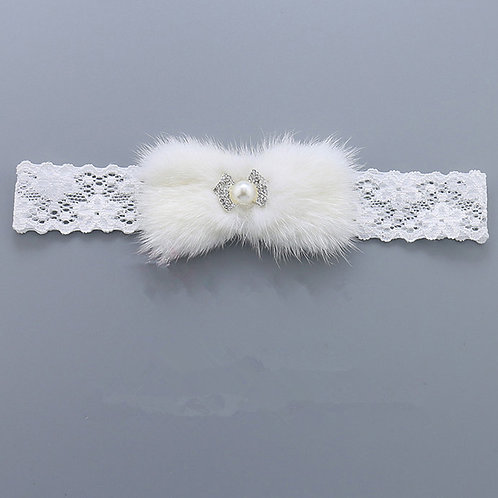 Fur Embellished Lace Headband