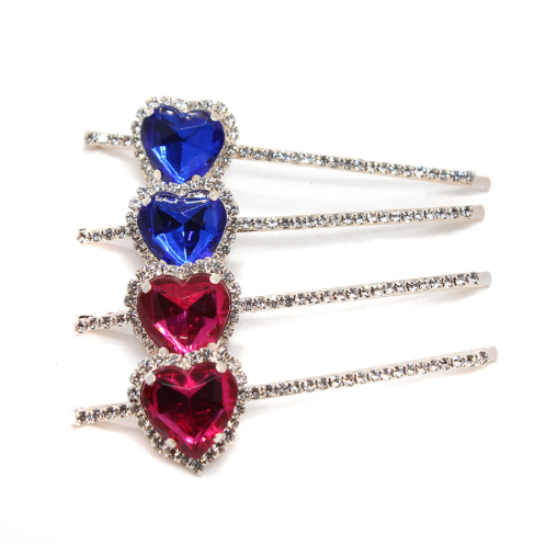 Rhinestone Heart Hair Pin - Set of 2