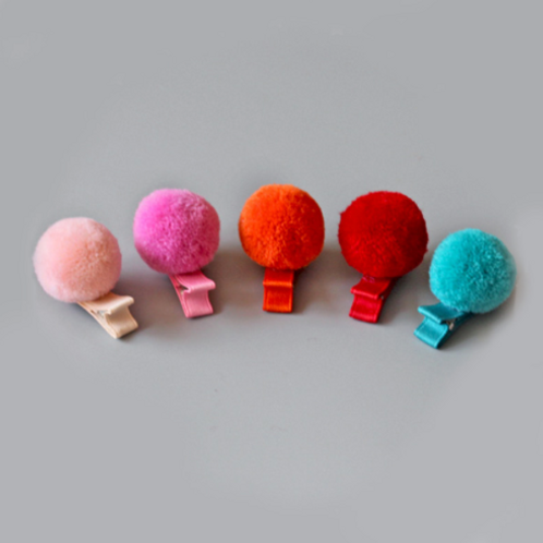Mini Pom Pom Hair Clip - Set Of 2