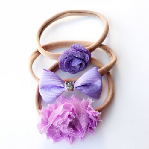Lavender Nylon Headband Set