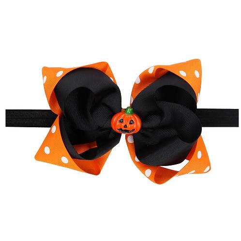 Grosgrain Pumpkin Elastic Headband