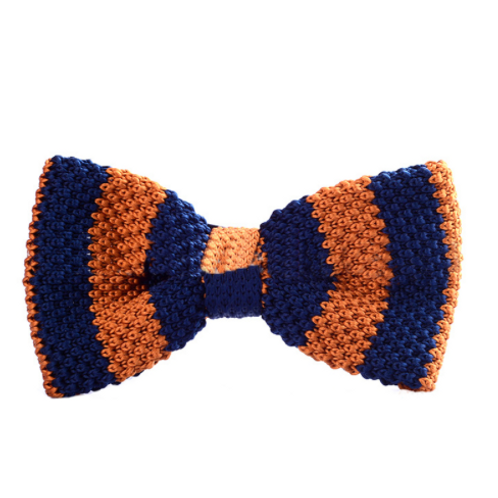 Striped Blue Orange Knitted Bow Tie