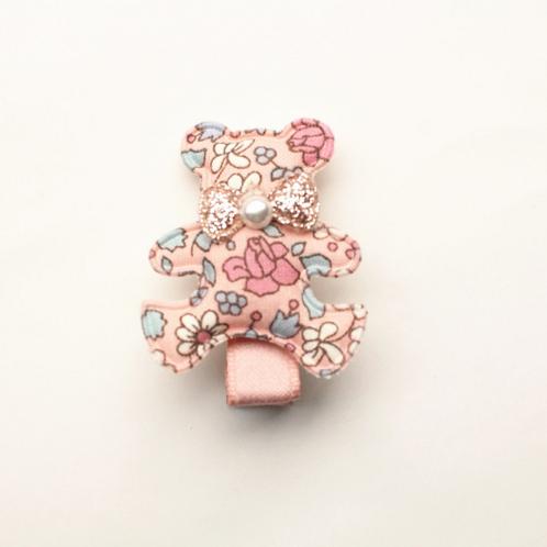 Floral Print Teddy Bear Hair Clip