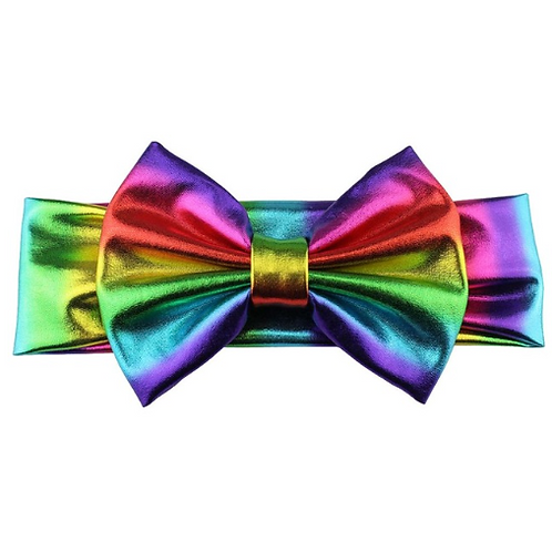Rainbow Metallic Bow Turban