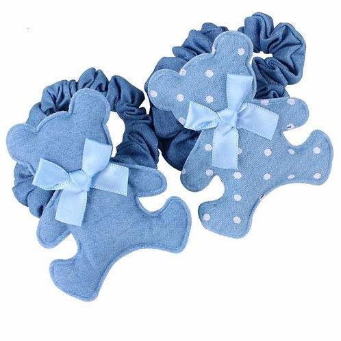 Denim Teddy Bear Hair Tie