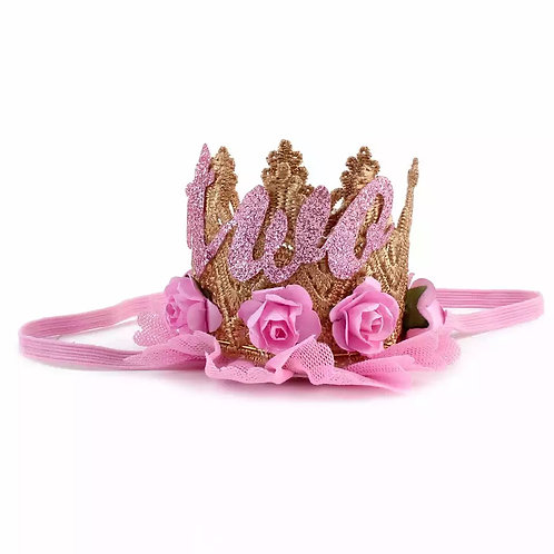 2nd Birthday Floral Lace Crown Headband