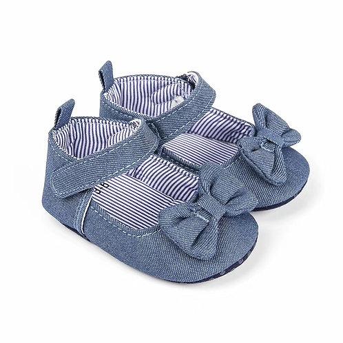 Denim Bow Baby Shoe