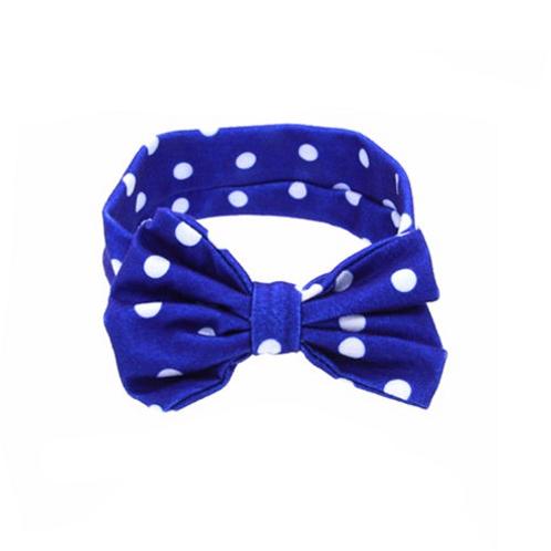 Blue Baby Girls Kids Polka Dot Bow Summer Spring Fall Winter Turban Headband