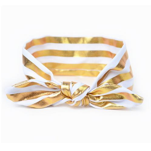 Baby Girls Kids Striped Gold Metallic Tied Turban