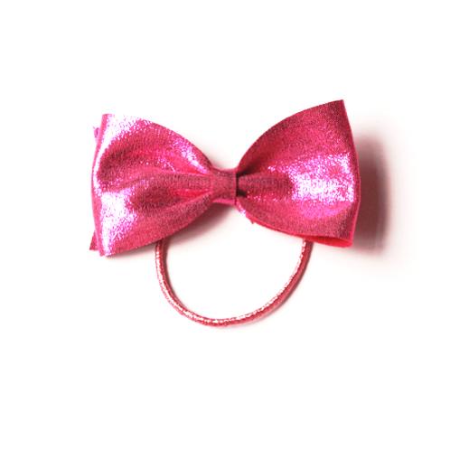 Hot Pink Babies Girls Kids Large Metallic Bow Elastic Hair Tie