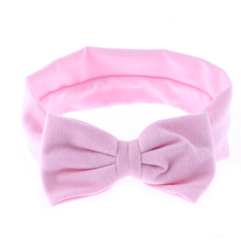 Baby Kids Girls Pink Solid Color Bow Summer Winter Spring Fall Headband