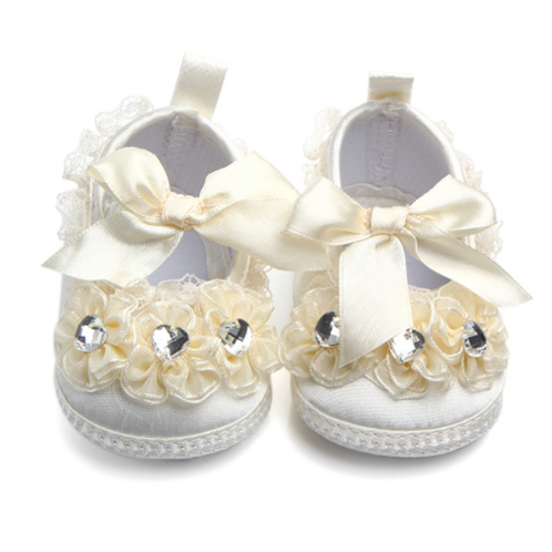 Ivory Crystal Lace Baby Shoes