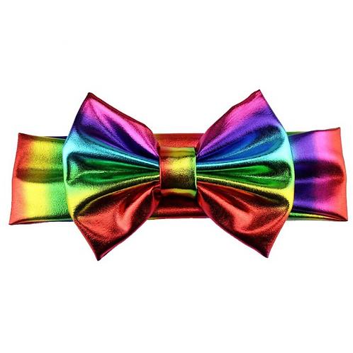 Rainbow Metallic Bow Turban