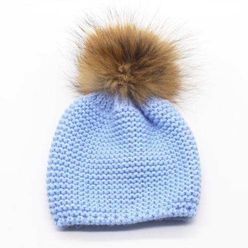 Baby Girls Boys Kids Unisex Blue Knitted Fur Pom Pom Beanie