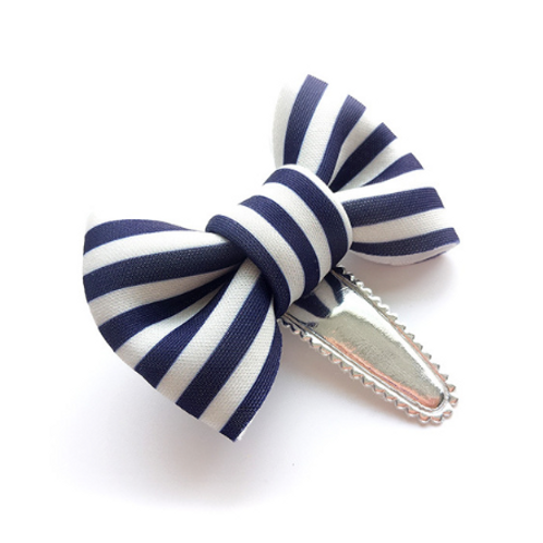 Striped Dot Cotton Bow Hair Clip