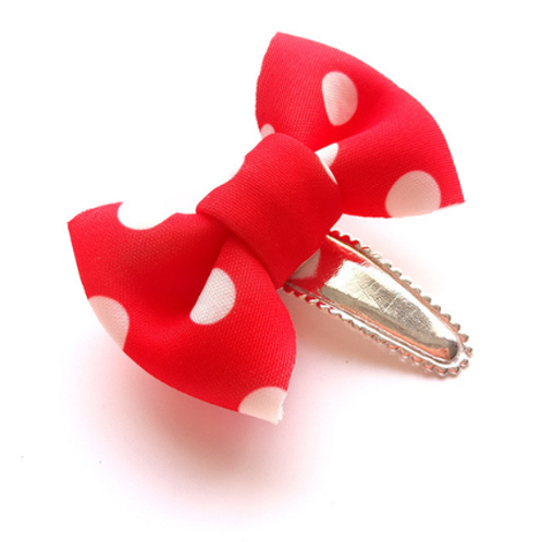 Polka Dot Cotton Bow Hair Clip