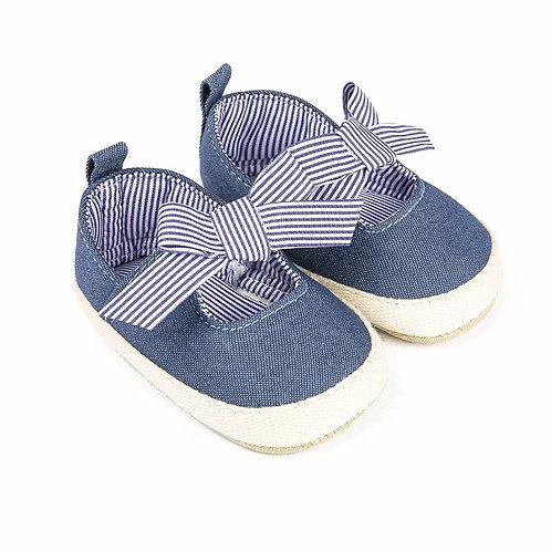 Denim Bow Strap Baby Shoe