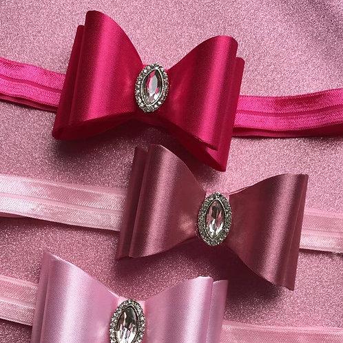 Studded Embellished Satin Bow Elastic Headband