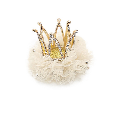 Tulle Embellished Crown Hair Clip