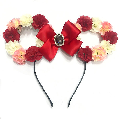 Minnie Hollow Ears Floral Headband