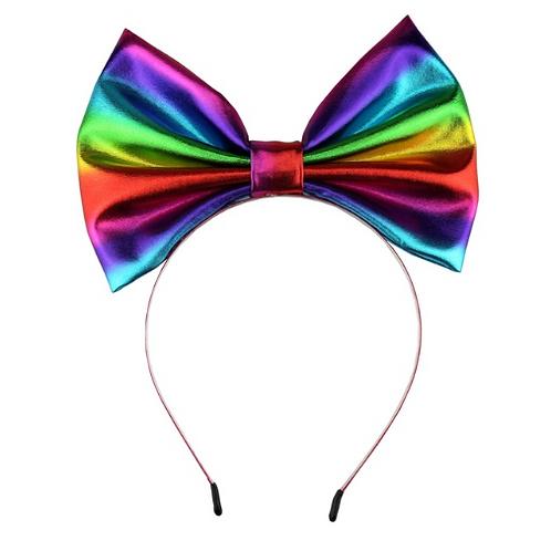 """7"""" Rainbow Iridescent Metallic Bow Headband"""